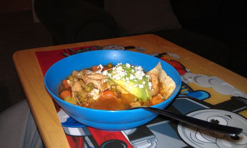 Chicken Tortilla Soup with Avocado and Blue Cheese